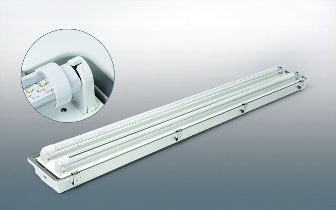 Waterproof 4 foot LED fixture with 2 lamps
